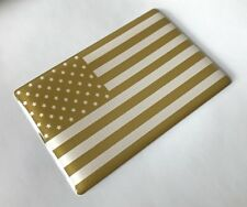 USA AMERICAN STARS AND STRIPES GOLD & WHITE Sticker/Decal HIGH GLOSS DOMED GEL