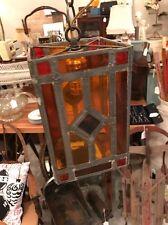 Vtg Stained Leaded Multicolor Glass Hanging Light Lamp Chandelier