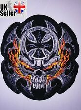 Fire Skull Large Back Patch Iron-on/sew-on Embroidered Patch Motorcycle Biker