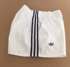 Vintage adidas Production Ventex Cotton Shorts White With Blue Stripes S/M