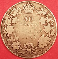 1929 Silver Canadian 50 Cent Coin  ID #94-20