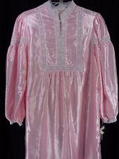 Vintage Ilise Stevens Pink Lace Satin Long Granny Victorian Nightgown Size M NOS