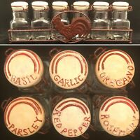 Vintage Spice Jar Set with Rooster Rack 7 Pieces Bale Spring Locks