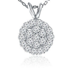 1.00 Ct Ladies Round Cut Diamond Pendant / Necklace 14 kt White Gold
