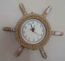 ROPE SHIP'S WHEEL WALL CLOCK RUSTIC VINTAGE STYLE NAUTICAL THEME