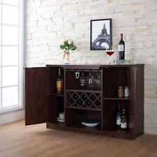 Wine Bar Buffet Cabinet Bottle Rack Wood Storage Hutch Furniture Walnut Brown