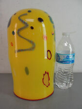 HANDMADE YELLOW RED ABSTRACT PARTY POP ART GLASS PENDANT LIGHT LAMP SHADE 11X6