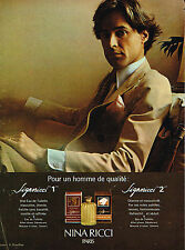 PUBLICITE ADVERTISING 104  1978  NINA RICCI  parfum homme SIGNORICCI D.HAMILTON