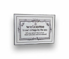 """Welcome To Our Cottage By The Sea, Inspirational Quote Canvas Wooden - 3.5"""" x 2."""
