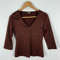 Jigsaw Womens Top 8 Bronze Brown 3/4 Sleeve V-Neck