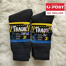 6 Pairs size 6-11 MENS EXTRA THICK COTTON TRADIE WORK/SPORTS SOCKS BLACK NEW