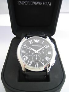 EMPORIO ARMANI MENS WATCH BLACK LEATHER AR1700 CHRONOGRAPH STAINLESS STEEL BNWT