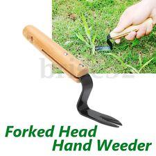 Forked Head Hand Weeder Puller Patio Wood Handle Garden Remove Weeds 20cm 8''