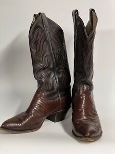 Billy Martin's  Brown Lizard &  Leather Cowboy Western Boots 76 B
