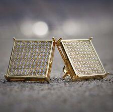 Mens 14K Gold Large Square Flat Screen Hip Hop Screwback Stud Earrings