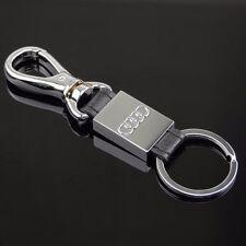Metal Leather Key Chain Fob Ring car logo Keychain Key Ring For AUDI A4 A5 A6 Q3