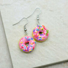 Strawberry Donut Earrings - Silver Toned Brass Earring Hook - Dainty Jewelry