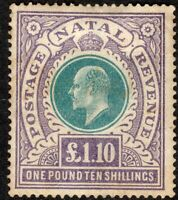 South Africa Natal 1902 green/violet £1.10 crown CC mint SG143