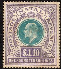 South Africa Natal 1902 green/violet £1.10 crown CC mint SG143