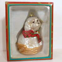 Christmas Ornament Glass KURT ADLER Polonaise Animal Dog Pearl White Box
