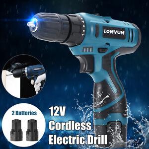 12V Li-Ion Cordless Combo Kit Tool Hammer Drill Impact Driver Set + 2  * W!