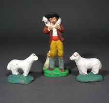 Vintage French Terracotta Santons from Provence, Shepherd with Lamb & Two Sheep