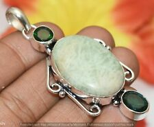 Amazonite & Chrome Diopside Gemstone Silver Plated Pendant U320-A191