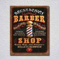 Mustachios Barber Shop Vintage Retro Tin Sign Metal Sign Metal Poster Metal Deco