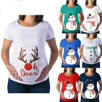 Pregnant Women Christmas Maternity T-shirt Ladies Xmas Short Sleeve Tops Blouses