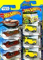 Hot Wheels - Lot of 6 - 2021 STAR WARS LANDSPEEDER X-34 & TMNT PARTY WAGON F29
