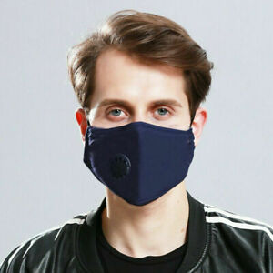 FACE MASK WITH NOSE WIRE & FILTER AIR VALVE 4 LAYERS COTTON WASHABLE REUSABLE UK