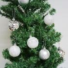 24 Christmas Tree Decorations Baubles Silver White Balls Xmas Party Ornament