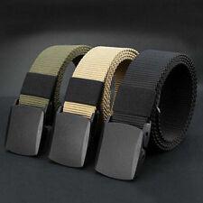 Mens Womens Unisex Canvas Webbing Belt Regular Big Size Black Buckle Army Belts