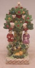 Staffordshire Pottery Figure - Man & Woman by Tree with Birds