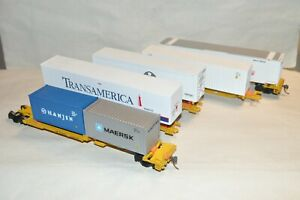 HO Walthers Union Pacific RR 48' spine piggyback trailers container flat car set