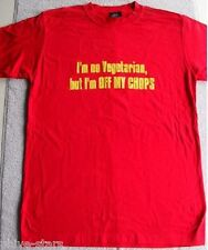 TSHIRT I'm No Vegetarian I'm OFF MY CHOPS 100% COTTON UNISEX RED Funny BBQ Wear2