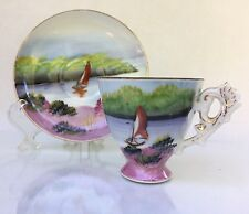 Japanese Porcelain Demitasse Cup and Saucer Set Made in Japan