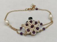 bracciale da donna stile antico con perle e ametista argento 925 rosato