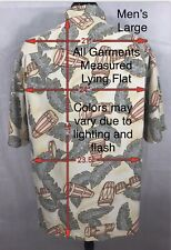 Vintage Tommy Bahama Camp Style S/Sleeve 100% Silk Shirt Men's Large Congo Drums