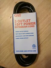 New 3 Outlet Heavy Duty 15-Foot Power Extension Cord w/Accessory Loop 15' ft Qvs