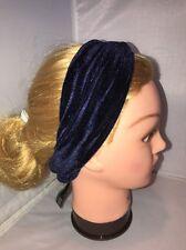 Free People Velvety Headband Head Wrap Turban Festival Bandana Navy Blue Twist