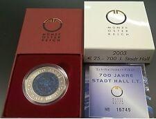 Münze Österreich. Silber/Niob 700 Jahre Stadt Hall in Tirol 25 Euro 2003 Eiamaya