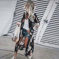 Womens Floral Loose Kimono Cardigan Boho Beach Chiffon Tops Long Coat Blouse