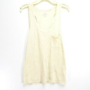 New Madewell Womens Whisper Cotton Scoop Neck Pocket Tank Sandstone Medium