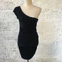 NEW ZARA TRAF BLACK ONE SHOULDER CREPE BODYCON DRESS MEDIUM UK SIZE 10 Z338