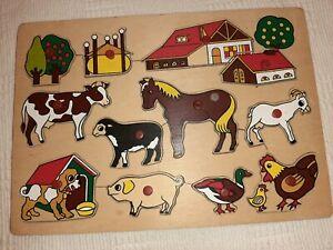 VINTAGE WOODEN SLOT IN PUZZLE - FARM -12 PIECES WITH PEGS - GREAT CONDITION