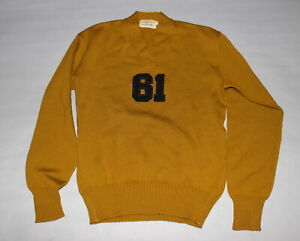 """Antique Vintage 1960's """"61"""" Football Wool Letterman Letter Sweater Size 48"""