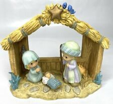 New ListingPrecious Moments 4 Piece Nativity Holy Family Christmas Nib Manger Bluebirds
