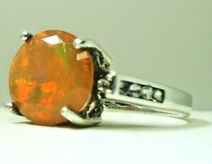 Ethiopian faceted 2.9 ct Opal tons of fire sterling silver ring clear topaz sz 7