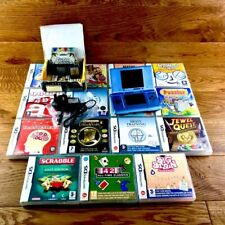 Nintendo DS Original Console Bundle Pearl Blue 16 Games Guitar Hero New Charger